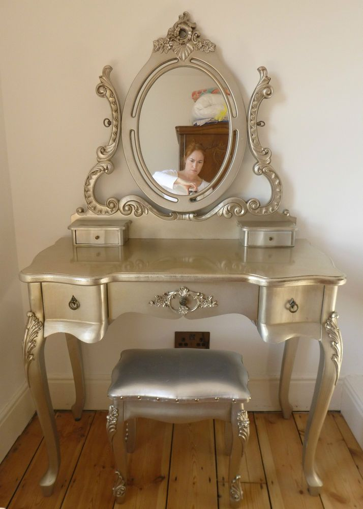French Louis Style Silver Dressing Table Stool Mirror Rococo Gothic Makeup  Bed