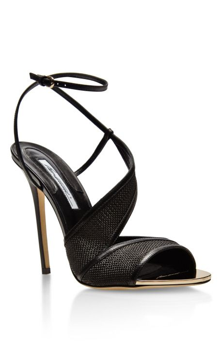 Leather and Raffia Sandals by Brian Atwood