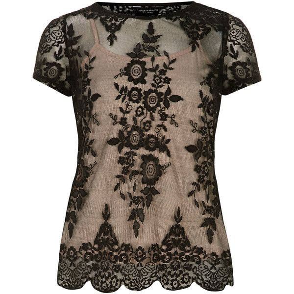 Dorothy Perkins Black scalloped hem lace top ($21) ❤ liked on Polyvore featuring tops, dorothy perkins, scalloped tops, dorothy perkins tops, lace camisoles and lace camisole top