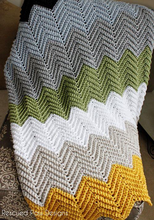The Wonders Crochet Free Chevron Blanket Pattern : Rescued Paw Designs