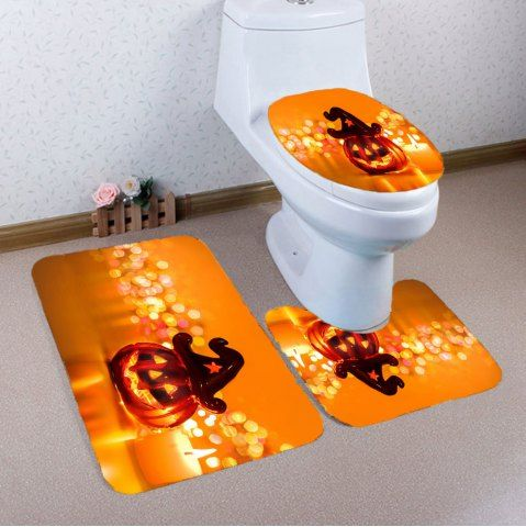 ORANGE Halloween Pumpkin Candle Printed 3Pcs Bathroom Mats Set