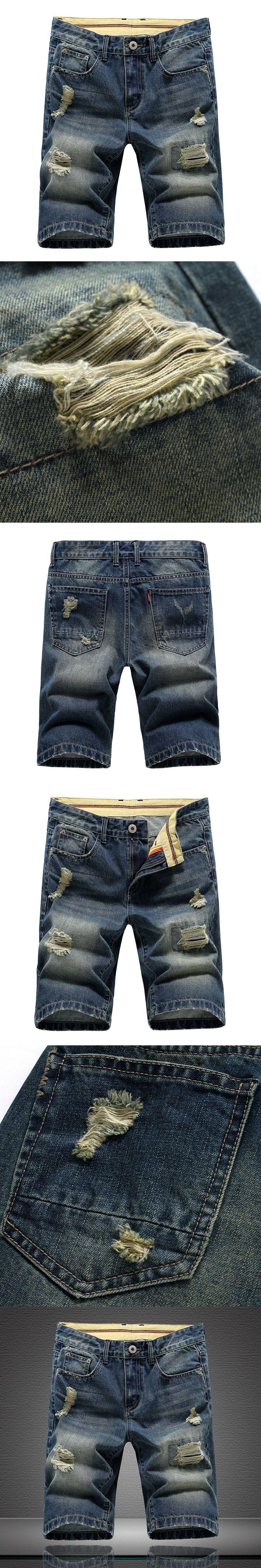 Summer Bermuda Rushed train Zipper Short Jeans Homme Metrosexual Casual Denim Jeans Short Male Straight Hole Men's Knee Length