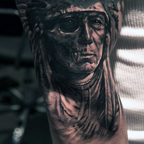 Mens Arms Ghastly Looking Native Amrican Tattoo