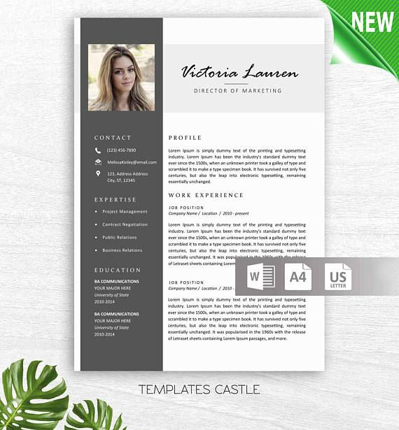 Professional Resume with Photo 2 Page Creative Modern Word