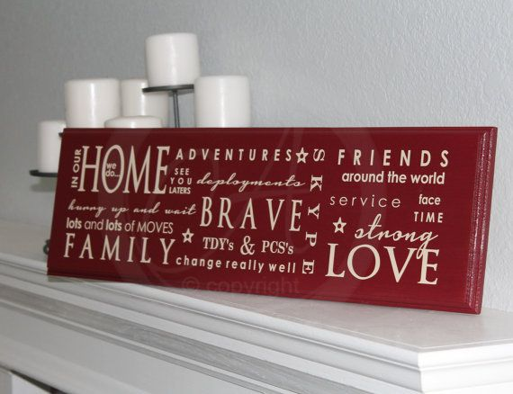 Custom MILITARY In our HOME {air force, army, navy, marines} Wood Plaque with Vinyl Lettering custom colors asimpleimpression