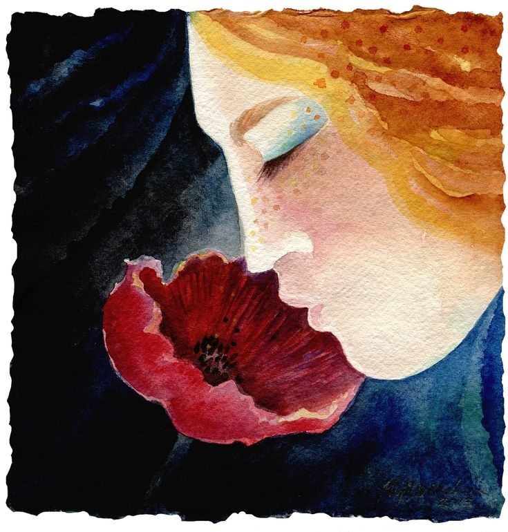 ARTFINDER: Scent of the Summer - Remembering by Phyllis Mahon - Watercolour on beautiful handmad Indian 'Khadi' paper with a gorgeous deckled edge. This simple painting of a girl's profile is in deep colours: indigo, dark...