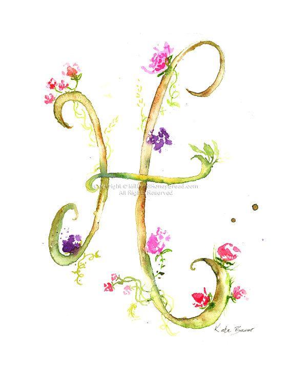 Letter H Watercolor Monogram Flower por MilkandHoneybread en Etsy