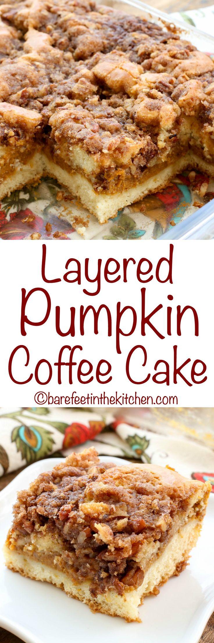 Layered Pumpkin Coffee Cake - get the recipe at barefeetinthekitchen.com