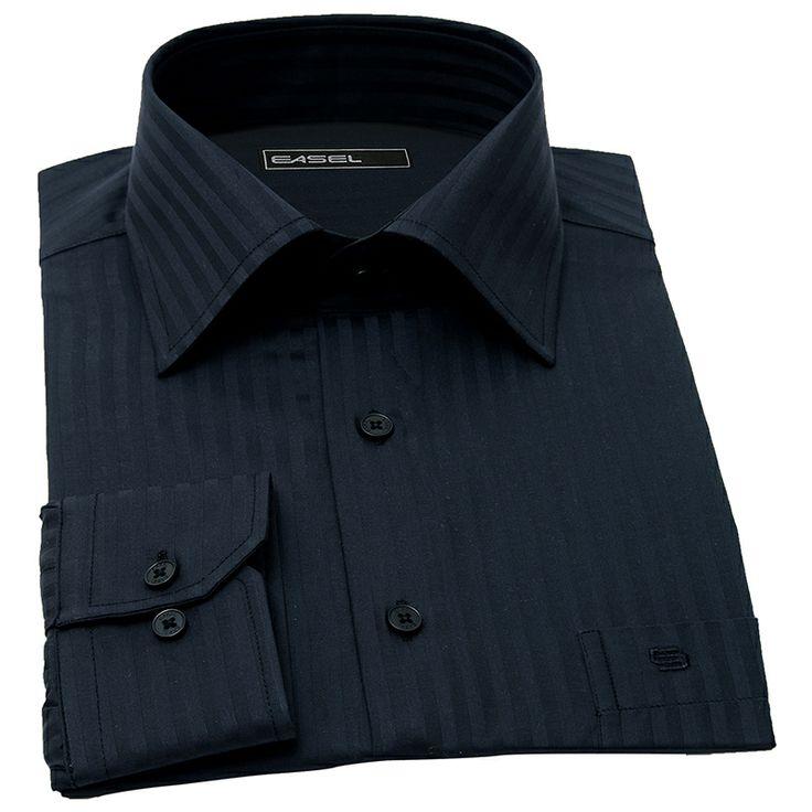 THE MATRIX-siyah armürlü çizgili poplin gömlek