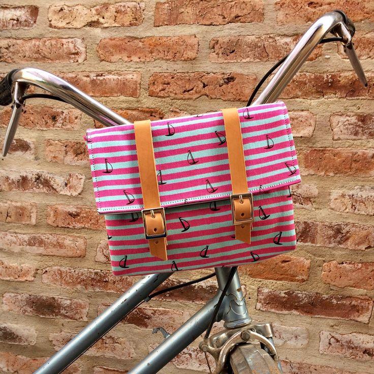 VENTA Rosa rayas algodón lona y cuero bicicleta