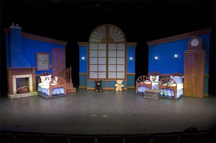 Peter Pan Musical Stage Set - fireplace in between? I like the painted window…