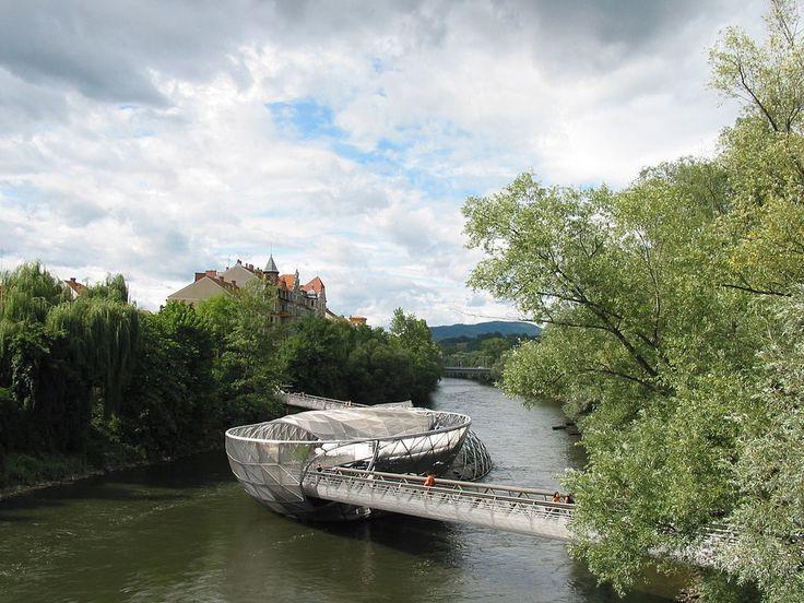 The Murinsel in Graz, Austria, designed by Vito Acconci in 2003. Photo courtesy Wikimedia Commons.
