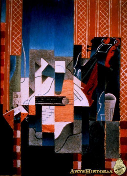 """CUBISMO. """"Violín y guitarra"""". Juan Gris, 1913. En esta pintura se observan planos con tramas de lineas entrecruzadas, emplea el uso de color en una composición con paralelepípedos relativamente regulares y en disposición vertical y horizontal."""
