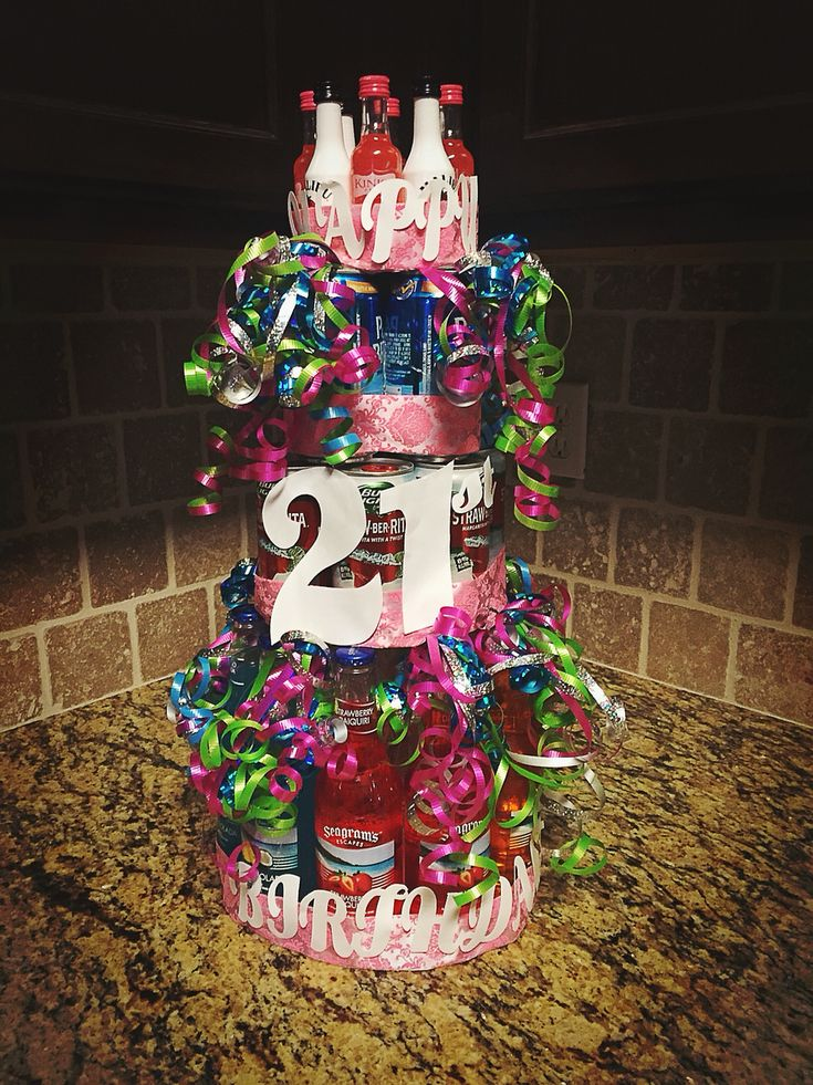 21st Birthday Alcohol Bottle Cake Party Ideas
