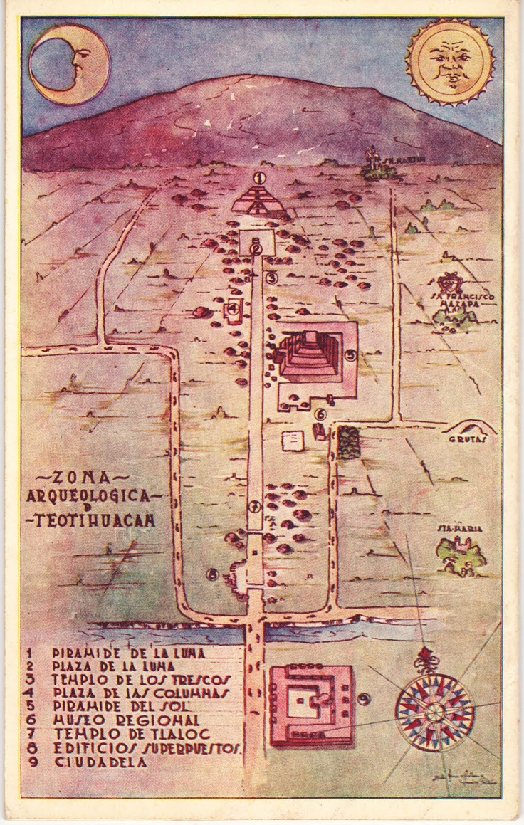 Plan illustré de la cité de Teotihuacan (200 av JC - 650 ap JC).plano de la grandiosa Teotihuacán.