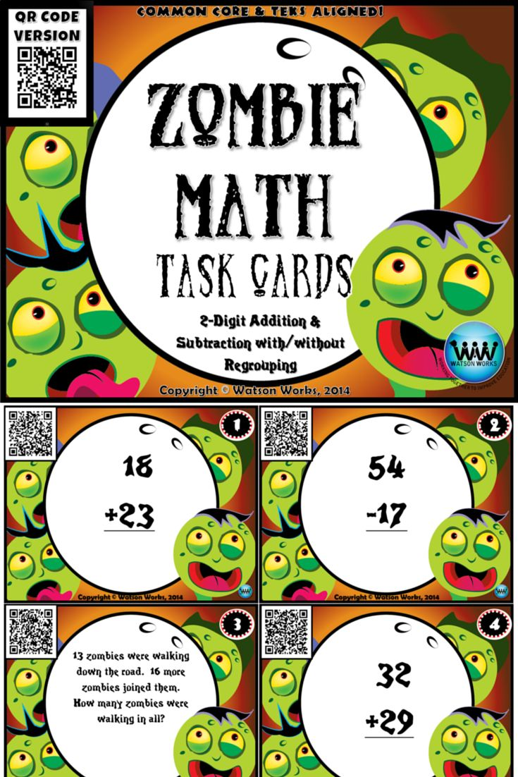$3. These 24 task cards are a great way to review 2-digit addition & subtraction with/without regrouping with your students! They feature a fun zombie theme that makes them perfect for Halloween time, but actually they can be used at any time during the year. Let's face it...kids love zombies year-round! :) 16 cards feature math equations, and 8 cards feature word problems. Students record answers on an answer sheet, and check them using the QR code on each card.
