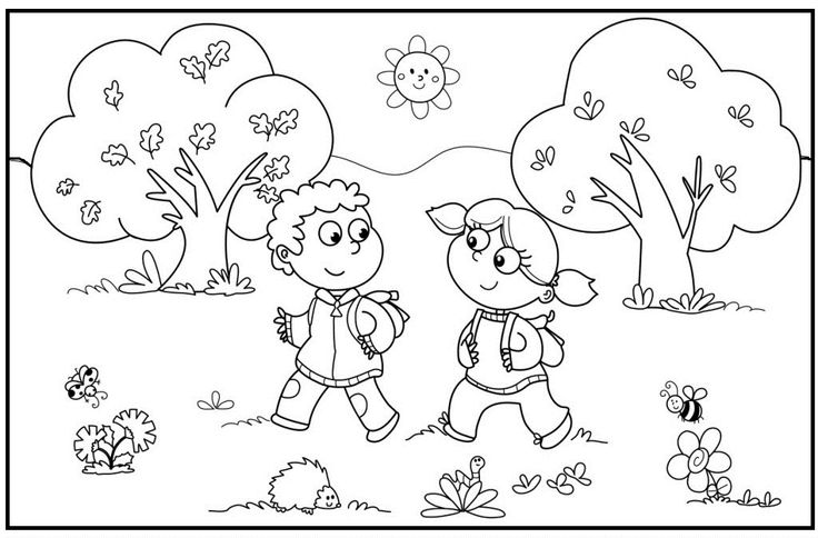 Happy spring in park spring pinterest kids net and for Park coloring pages