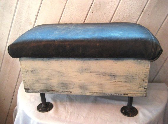 Distressed Wood Storage Ottoman ~ Distressed leather upholstered stool storage ottoman