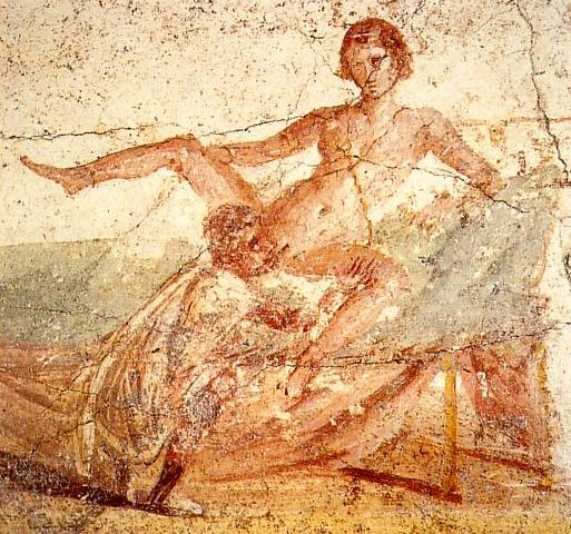 This fresco was discovered in the Suburban Baths at Pompeii, which served as a public bath house. This erotic image was discovered in the dressing room (apodyterium) amongst other images of similar dispositions, and it is widely thought that these...