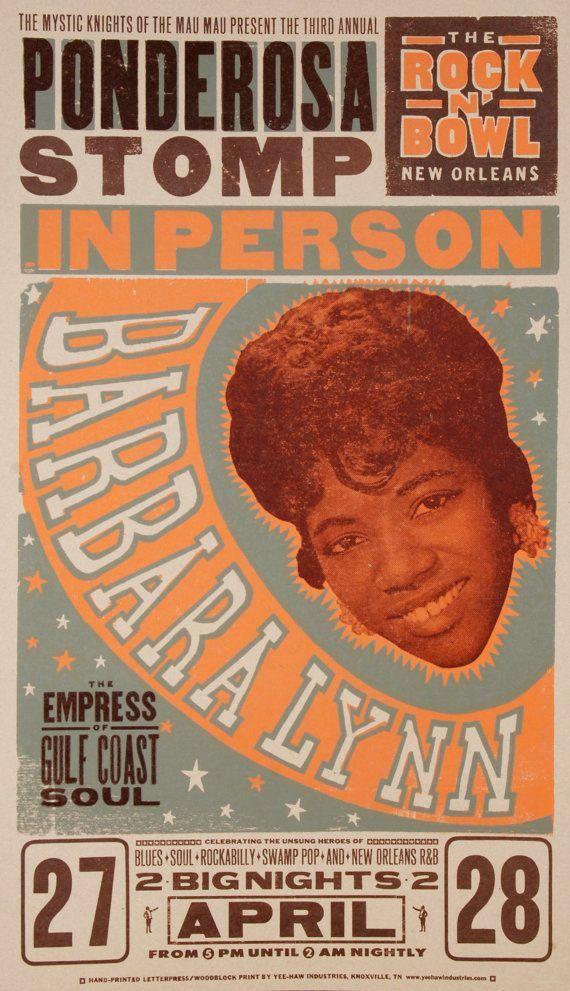 Barbara Lynn | Letterpress poster, Vintage music art, Jazz poster