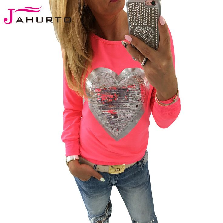 Jahurto Love Heart Sequins T-shirt Neon Color Round Neck Long Sleeve Slim Casual Cute Women Shirt Pullover Female Clothes  #outfitoftheday #beauty #purse #styles #style #outfit #jewelry #cute #fashion #hair #jennifiers #stylish #makeup #beautiful #model