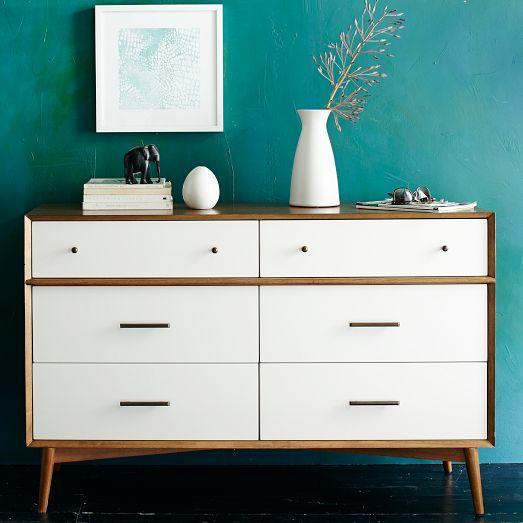 Mid-Century 6-Drawer Dresser - White + Acorn | west elm - $999, or do this to Mom's old dresser!