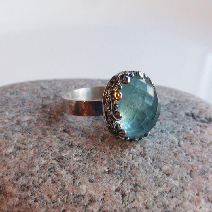 """Кольцо """"Elise"""". Аквамарин, серебро. - голубой, кольцо с аквамарином, аквамарин, аквамарин натуральный"""