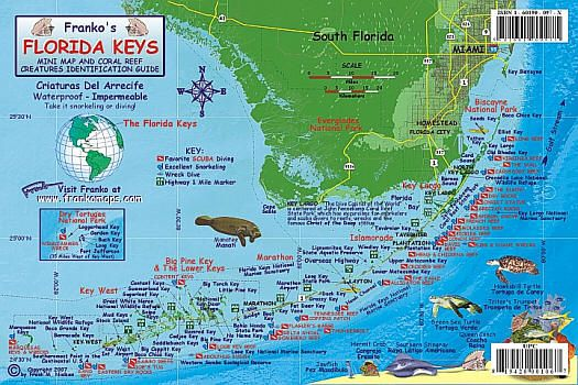 Florida Keys Reef Creatures Road and Recreation Map ...