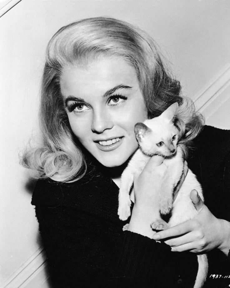 Энн-Маргрет Ульссон — американская актриса, певица и танцовщица шведского происхождения. На снимке: она с котёнком, 1964 г.