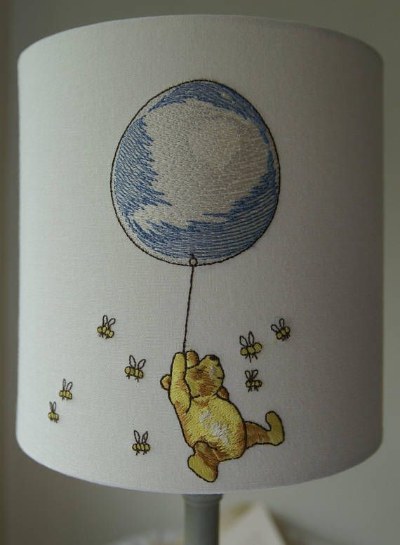 Winnie The Pooh And Piglet Embroidered Nursery Lampshade