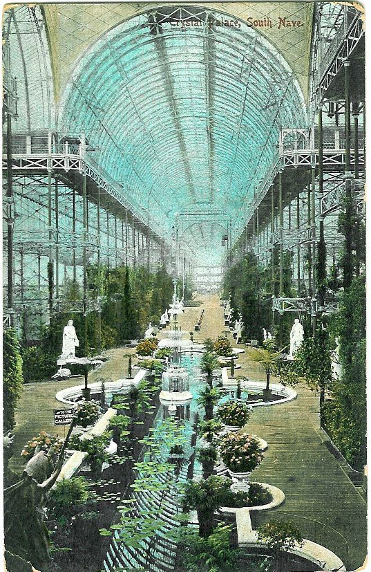 Postcard: Crystal Palace, London int South nave 1911