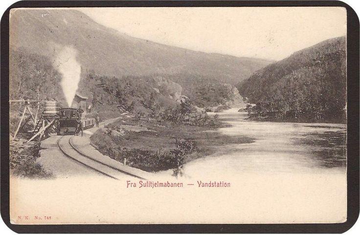 Sulitjelmabanen - Vandstation. Tog. Utg Narvesen  Stemplet 1907.