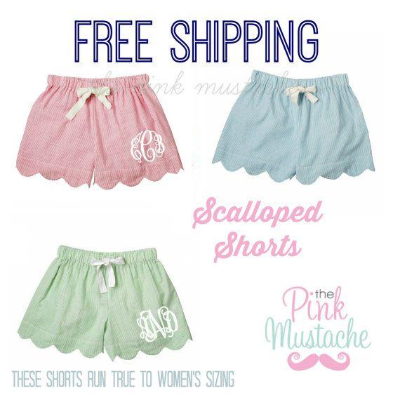 Monogrammed Seersucker Scalloped Shorts / Bridesmaid Gift / Greek / Sorority Shorts