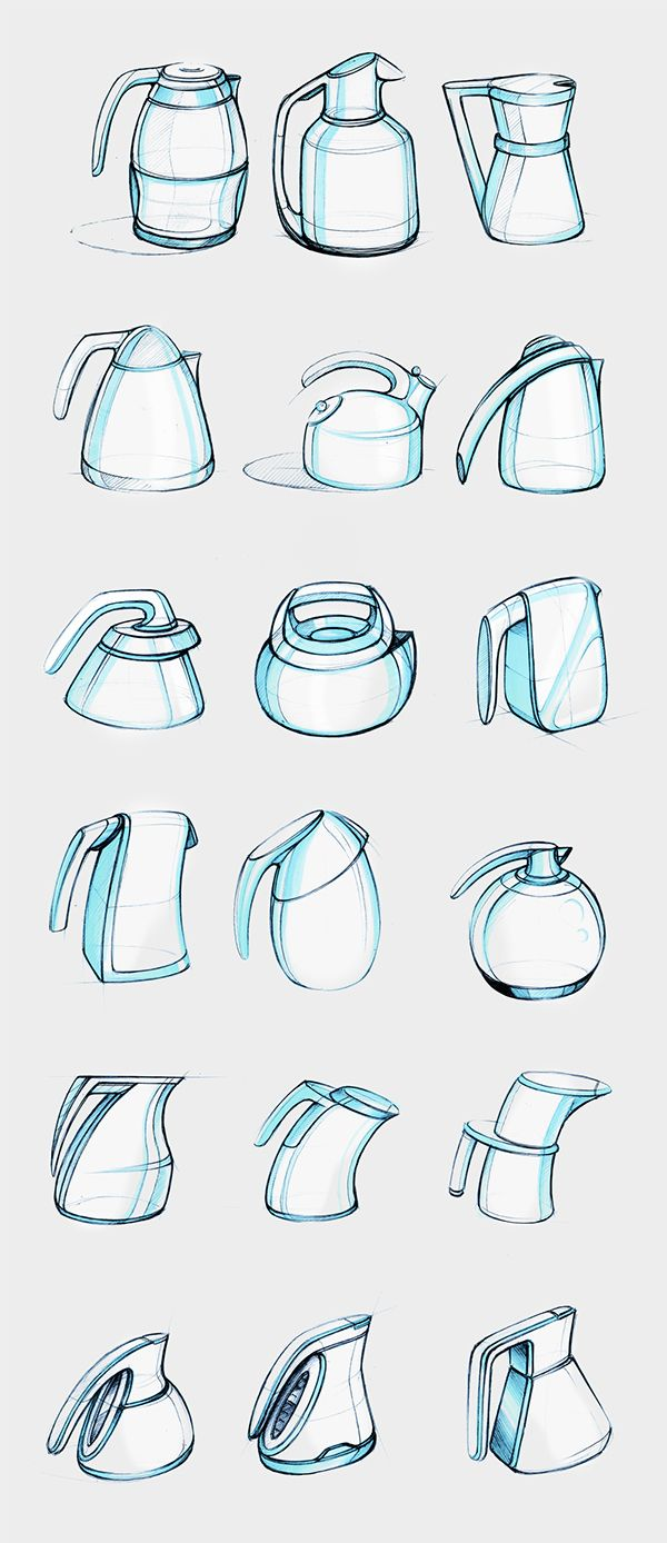 Electric Kettle sketches - Design Sketchbook II on Behance - Matt Seibert