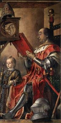 Prince Federico da Montefeltro and his Son 1480-81 Pedro Berruguete Oil on panel, 134 x 77 cm Galleria Nazionale delle Marche, Urbino  The first historical references to Berruguette relate to his stay at Urbino. The great condottiere, Federigo di Montefeltro, duke of Urbino, had summoned Joos van Gent to decorate the library and study of his magnificent palace with allegories of the liberal arts and portraits of Biblical and pagan thinkers.