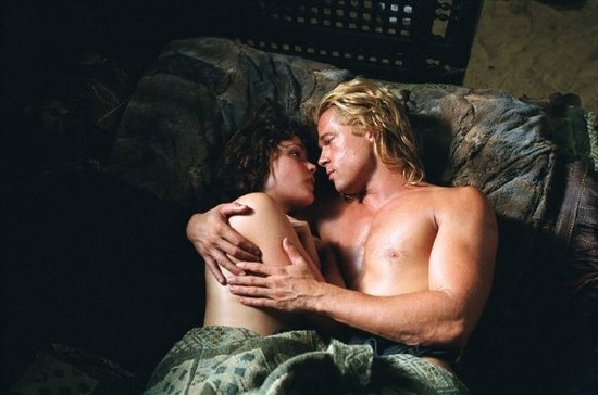 Brad Pitt and Rose Byrne, Troy