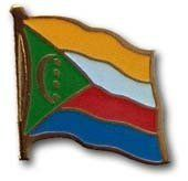 """Comoros - National Lapel Pin by Flagline. $2.25. .75"""" x 1"""" Single Lapel Pin. Our Comoros lapel pins are a great way to show support or show off your heritage. The pins are die-struck from a high quality steel alloy and feature a butterfly clasp in the back. The recessed colors allow for finer reproduction of details and a top epoxy coating creates a surface smooth to the touch."""