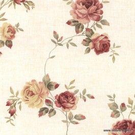 Papel de parede Decoração Floral Origini 26-55 , Wallpaper, Importado, Lavável, Superfície lisa, Tons de Bege, Verde e Bordô