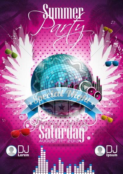 Vector Summer Beach Party Flyer Design with disco ball - Royalty Free Vector Illustration