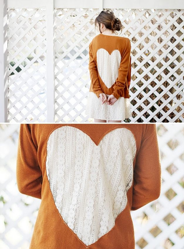 DIY: lace heart cardigan