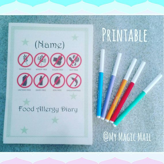 Food allergy diary Do you think you have a food allergy but unsure what foods you may be allergic to?  Here at my magic mail, we have designed a printable food allergy diary. Here to help keep you on track of good and bad food with the reaction coursed through food. Keeping a food diary can help you find which food course your reaction. We also include a form for those with children with a food allergy for you to fill out and add food allergy reactions to help inform. Schools, childminder…