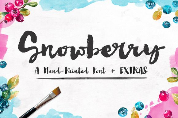 Snowberry - A Hand Painted Font by Angie Makes on @creativemarket. Price $14