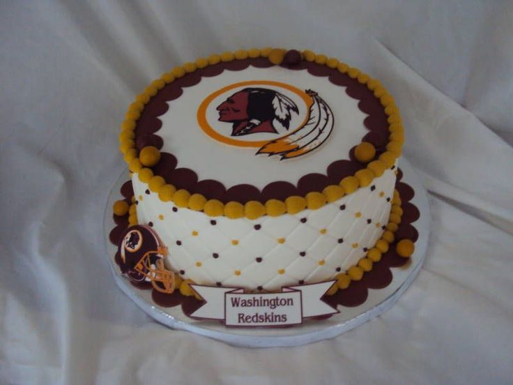 This #Redskins cake has some classic cake decorations on it!
