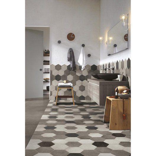 Carrelage sol et mur anthracite effet b ton time x l for Conseil carrelage salle de bain