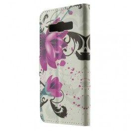 Galaxy A3 violetit kukat puhelinlompakko