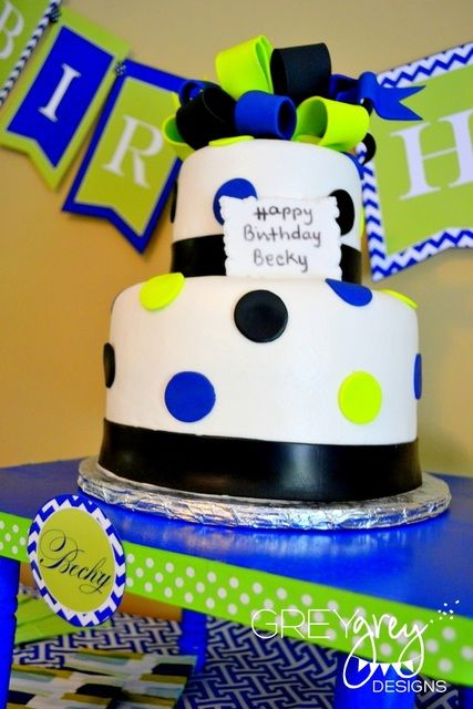 """Photo 3 of 19: Lime Green and Navy / Birthday """"Lime Green and Navy 40th Birthday""""   Catch My Party"""