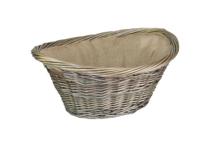 Antique Wicker Grey Hessian Lined Log Basket Laundry Basket Wash Basket Veg  | eBay