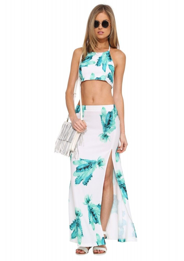 Ivy Printed Maxi Skirt in Green   Necessary Clothing