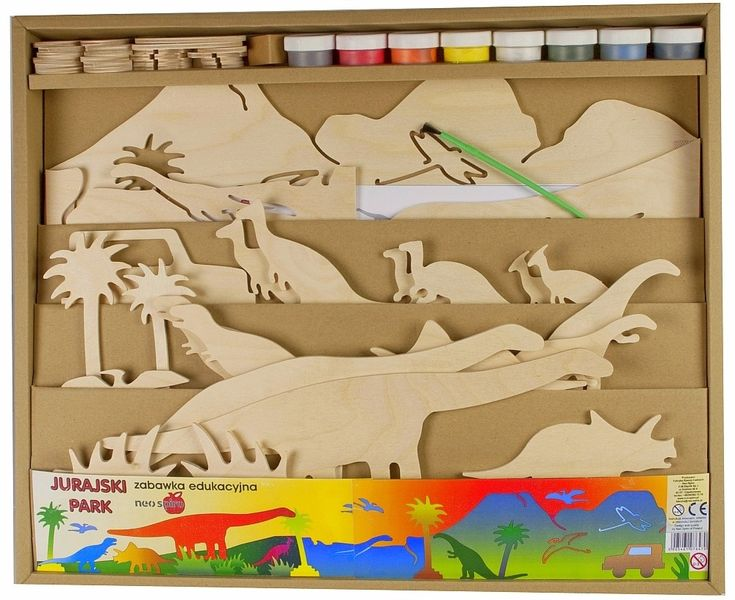 Drewniany Park Jurajski, Neo-Spiro   ZABAWKI \ Zabawki drewniane ZABAWKI \ Zabawki kreatywne, zrób to sam \ Wycinanie, sklejanie, składanie ZABAWKI \ Zabawa ze zwierzętami \ Dinozaury NA PREZENT \ Prezent dla chłopca Neo-Spiro   Hoplik.pl wyjątkowe zabawki