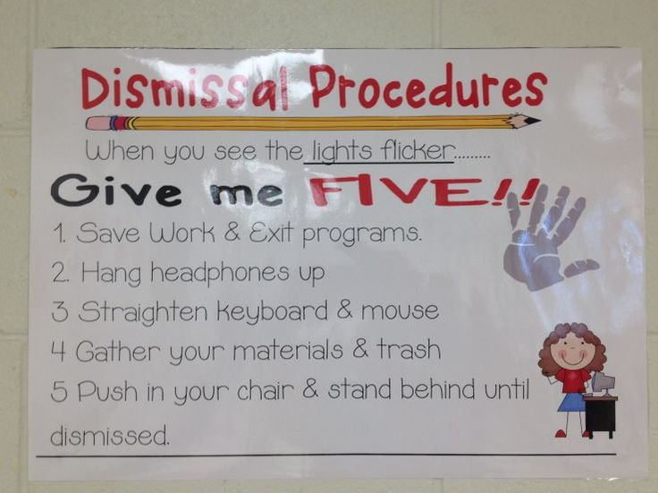 Elementary Tech Teachers Dismissal Procedures- Computer Lab